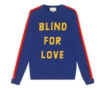 """Pullover aus Wolle mit """"Blind for Love"""" und Tiger"""