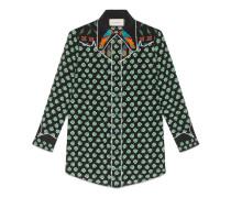 Hemdbluse aus Seide mit Kleeblatt Print
