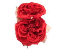 Blumen-Anstecknadel aus Seide und Baumwolle