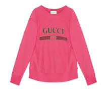 Pullover aus Baumwolle mit Gucci Print