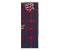 Schal aus Wolle mit Schottenkaro und Rosen