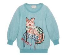 Pullover aus Mohairwolle mit Katzen-Intarsie