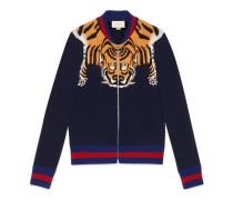 Jacke aus Wolle mit Tiger