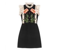 Kleid aus Wolle und Seide mit Blumen-Stickerei