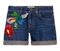 Kinder Shorts aus Denim mit Blumen
