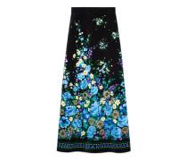 Rock aus Samt mit Blumen-Brunnen-Motiv