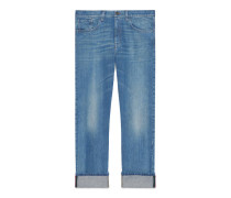 Blaue Jeans mit Webstreifen