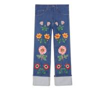 Jeans mit Blumen-Stickereien
