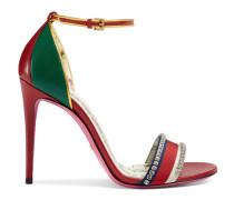 Sandale aus Leder mit Kristallen