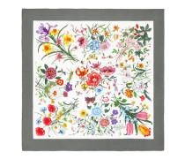 Seidenhalstuch in grau und weiß mit Flora-Print