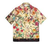 Bowling-Shirt aus Seide mit Flora-Schlangen-Print