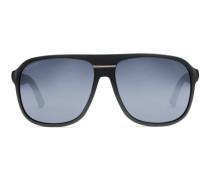 Sonnenbrille mit rechteckigem Rahmen und Webstreifen