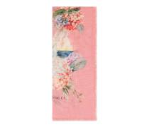 Schal aus Kaschmir und Seidensablé mit Hortensien-Print