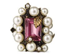 Ring mit Kristall und Perlen