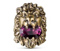 Ring mit Löwenkopf mit Kristall