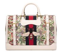 Reisetasche aus Blumengobelin mit Webstreifen