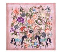 Schal aus Seidentwill mit Garten-Druck