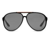 Sonnenbrille im Fliegerstil mit G-Detail und Gucci-Detail an der Schläfe