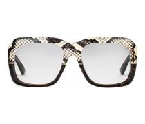Brille mit quadratischer Fassung mit Ayers Schlangenleder