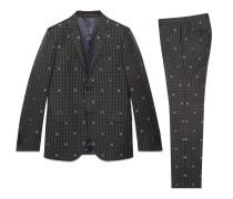 Monaco Anzug aus karierter Wolle mit Bienen
