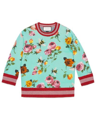 gucci damen pullover aus doppeltem fleece mit rosen print. Black Bedroom Furniture Sets. Home Design Ideas