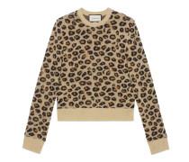 Pullover aus Wolljacquard mit Leopardenmuster