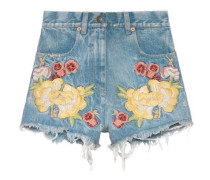 Shorts aus Denim mit Stickerei