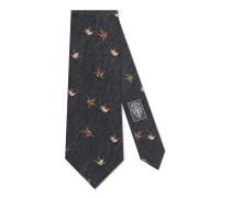 Krawatte aus Wolle und Seide mit Kolibris