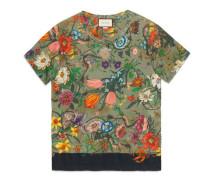 T-Shirt aus Leinen mit Flora-Schlangen-Print