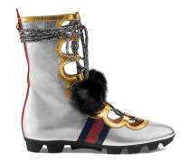 Hoher Sneaker aus metallischem Leder und Nerz