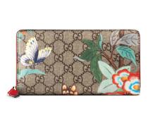 Brieftasche mit Rundumreißverschluss und Gucci Tian Print