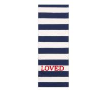 Schal aus gestreifter Baumwolle mit Stickerei