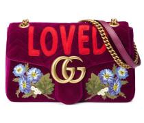 GG Marmont Schultertasche aus Samt mit Stickerei