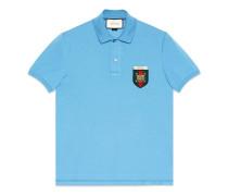 Poloshirt aus Baumwolle mit Webstreifen- und Wappen-Patch