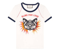 T-Shirt mit Katzen-Stickerei