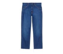 Kurz geschnittene Hose aus stone-washed Jeans