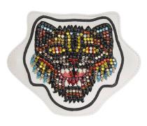 Applikation aus Leder mit Katzen-Stickerei