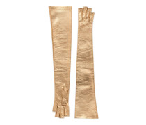 Metallic leather fingerless glove