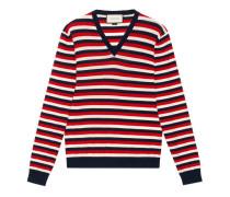 Pullover aus gestreifter Wolle mit V-Ausschnitt