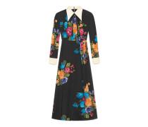 Kleid aus Seide mit Bildhafter Blumenstrauß-Print