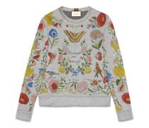 Pullover aus Jersey mit Blumenmuster