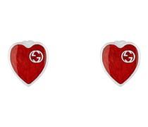 Ohrringe mit Email-Herz und GG Schriftzug