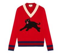 Pullover aus Wolle mit Panther-Intarsie