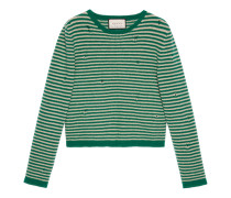 Cropped-Pullover aus gestreifter Wolle