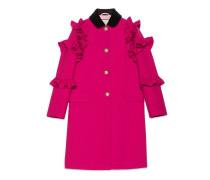 Mantel aus Wolle mit Volants