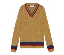 Pullover aus Lurex-Zopfmusterstrick