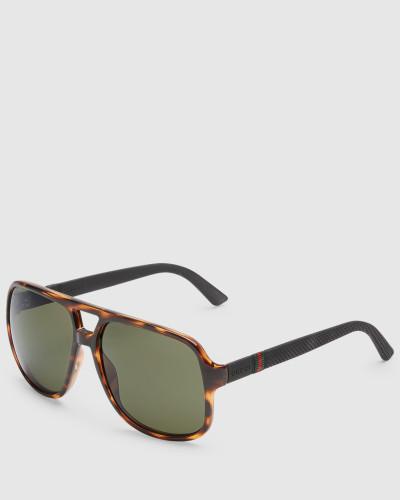 gucci herren sonnenbrille mit rechteckigem rahmen und. Black Bedroom Furniture Sets. Home Design Ideas
