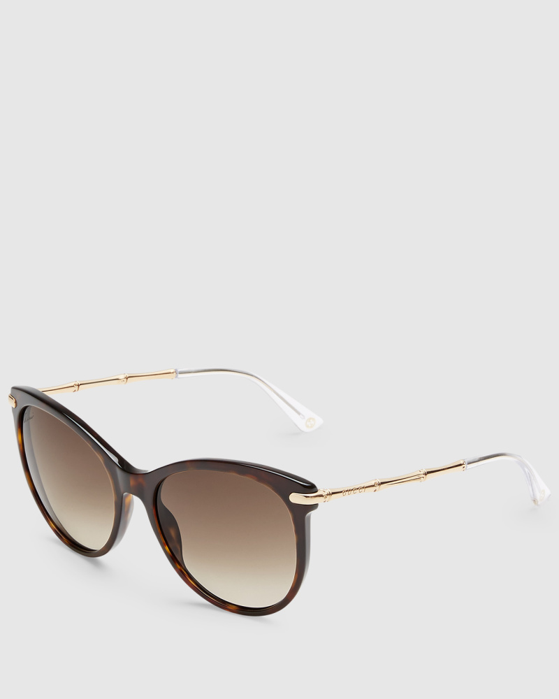 gucci damen katzenaugen sonnenbrille mit bambus b geln aus. Black Bedroom Furniture Sets. Home Design Ideas