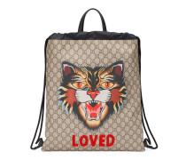 Rucksack mit Zugband aus weichem GG Supreme mit Katzen-Print