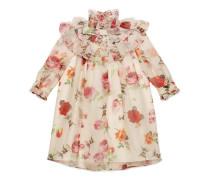 Kinder Kleid aus Organza mit Rosen-Print